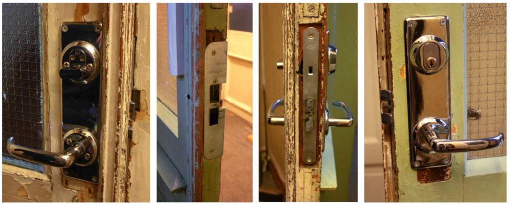 Bilde av en dørlås fra utsiden, innsiden og på siden.